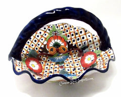 "Talavera Pottery Fluted Basket Bowl 14"" TFBB001"