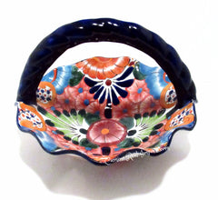 "Talavera Pottery Fluted Basket Bowl 13"" TFBB002"