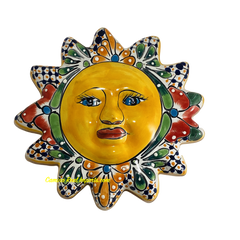 "Mexican Wall Hanging Talavera Pottery Sun Face 10"" MWHT001"