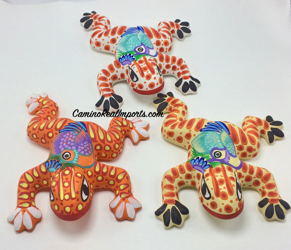 Set Of 3 Wall Hanging Mexican Guerrero Pottery Frogs ST3GF004