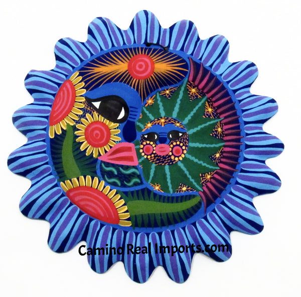 Mexican Wall Decor Guerrero Pottery Sun Face Eclipse caminorealimports.com