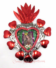 Sacred Heart Tin Nicho Mexican Folk Art With Our Lady of Guadalupe FTN002