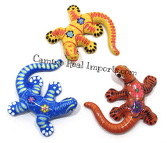 Set of 3 Large Wall Hanging Gecko Lizard Guerrero Pottery ST3GL001