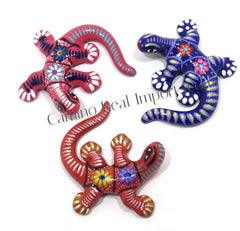 Set of 3 Large Wall Hanging Gecko Lizard Guerrero Pottery ST3GL002
