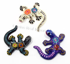 Set of 3 Large Wall Hanging Gecko Lizard Guerrero Pottery ST3GL005