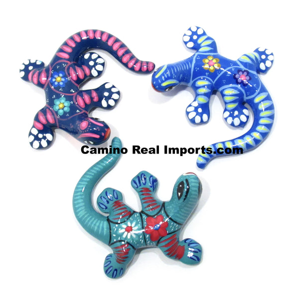 Set of 3 Large Wall Hanging Gecko Lizard Guerrero Pottery Caminorealimports.com