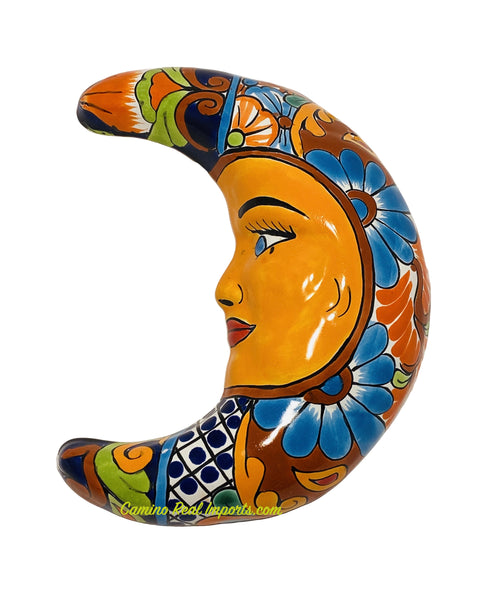 Mexican Wall Hanging Talavera Pottery Moon Face Caminorealimports.com