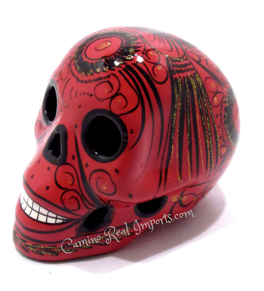 Day Of the Dead Hand Painted Clay Sugar Skull Caminorealimports.com