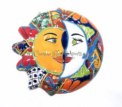 "Mexican Wall Hanging Talavera Pottery Sun And Moon Face Eclipse 12"" TSE017"
