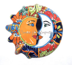 "Mexican Wall Hanging Talavera Pottery Sun And Moon Face Eclipse 12"" TSE019"