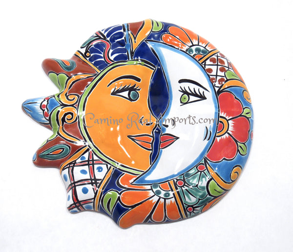 Mexican Wall Hanging Talavera Pottery Sun And Moon Face Eclipse caminorealimports.com