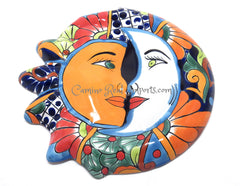 "Mexican Wall Hanging Talavera Pottery Sun And Moon Face Eclipse 12"" TSE021"