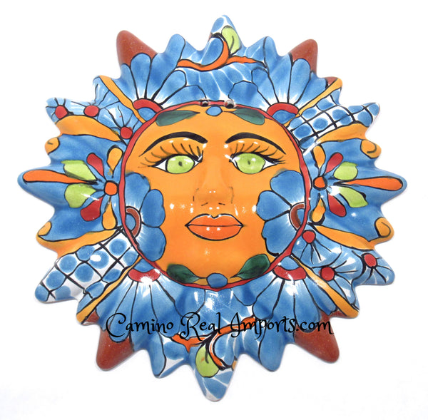 Mexican Wall Hanging Talavera Pottery Sun Face Caminorealimports.com