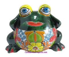 TALAVERA FROG FLOWER POT PLANTER TFP13002