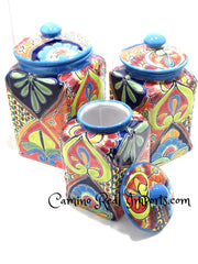 Talavera Pottery Canister Cookie Jar Set of 3 TCS3006