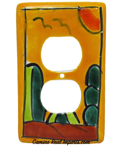 MEXICAN TALAVERA POTTERY DOUBLE OUTLET SWITCH PLATE TDSP013