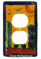 MEXICAN TALAVERA POTTERY DOUBLE OUTLET SWITCH PLATE TDSP016