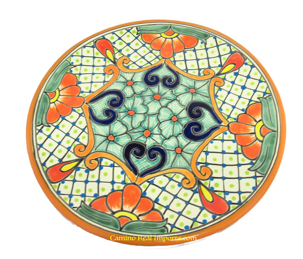 "Mexican Wall Hanging Talavera pottery Plate 11"" TP11022"