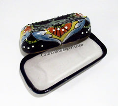 TALAVERA POTTERY BUTTER DISH HAND PAINTED SM TBDS002