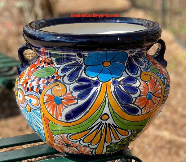 "Talavera Flower Pot ""Michoacana"" Planter 11"" TMS024"