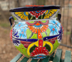 "Talavera FLOWER POT ""MICHOACANA"" PLANTER 16"" Medium TMMP0014"