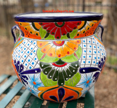 "Talavera Flower Pot ""Michoacana"" Planter 15"" Medium TMMP0015"