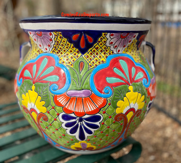 "Talavera FLOWER POT ""MICHOACANA"" PLANTER 15"" Medium TMMP012"