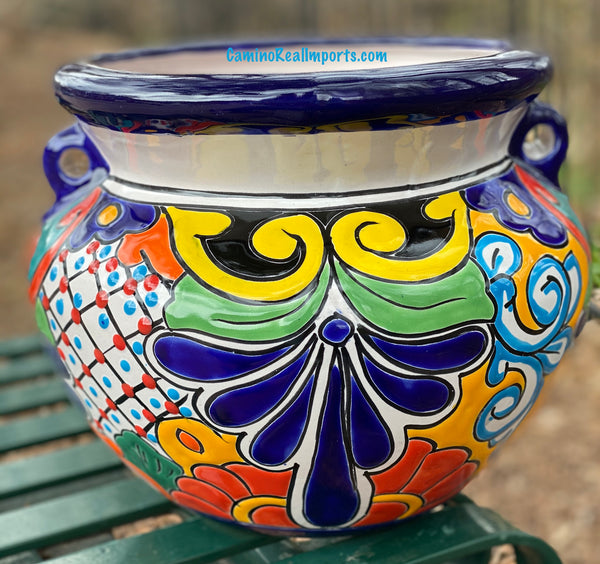 "Talavera Flower Pot ""Michoacana"" Planter 11"" TMS029"