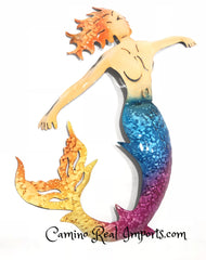 "13"" Metal Mermaid Wall Decor Lg MWHM001"