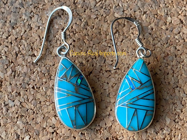 Sterling Silver Turquoise and Opal Inlay Earrings STER009