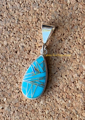 Sterling Silver Turquoise and Opal Pendant STSP009