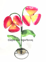 2 Metal Flowers Yard Or Garden Decor MRFB027