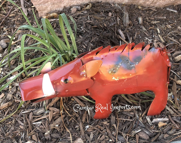 "Garden / Yard Art Metal Razorbacks Warthog Sculpture Animal Figure 12"" Caminorealimports.com"