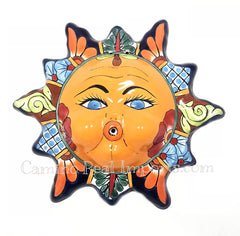 "Mexican Wall Hanging Talavera Pottery Sun Face 13"" TS13003"