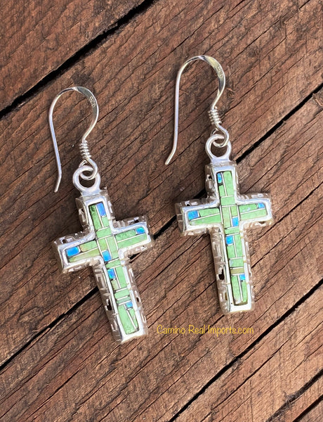 Sterling Silver Gaspeite and Opal Inlay Cross Earrings STER017