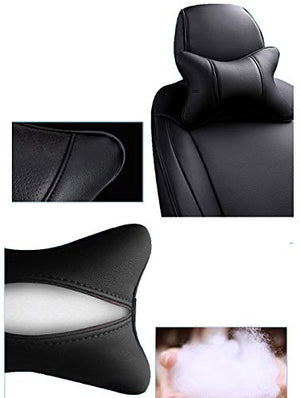 Car Neck Pillows Both Side Pu Leather 2pieces Pack Headrest Fit for Most Cars Filled Fiber Universal Car Pillow (Black)
