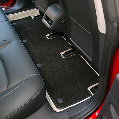 Topfit Model 3 Floor Mats All-Weather Mats White Car Carpet for Tesla Model 3(2018-2021) with PU Cortical Grass OEM Design
