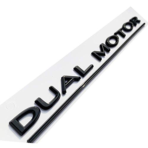 DUAL MOTOR Underlined Letters Emblem for Tesla Model 3 Car Styling Refitting High Performance Trunk Badge Sticker Glossy Black