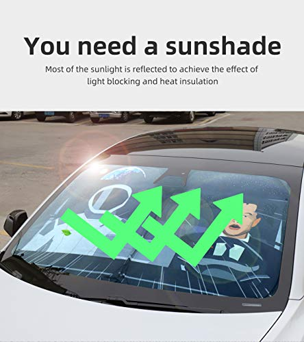LUCKEASY Creative Printing Sun Shade for Tesla Model Y 2020-2021 Front Glass Sunshade with Small Size and Easy Storage
