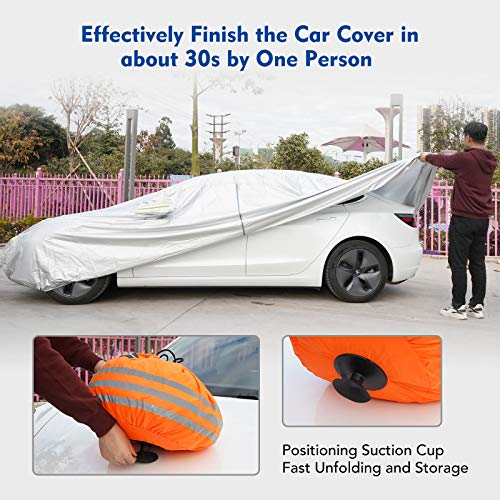 KIWISMART Car Cover Waterproof All Weather for Tesla Model 3, Outdoor Full Car Cover Accessories Rain UV Protection with Zipper Door & Charging Port, Dustproof Snowproof Windproof Sedan Cover