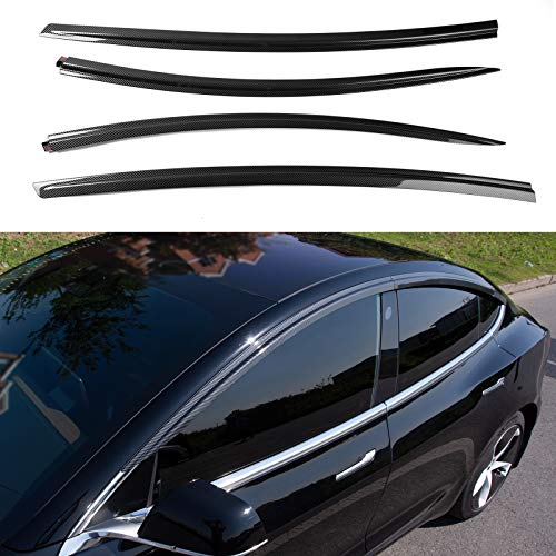 Xipoo for Tesla Model 3 Vent Deflector Ventshade Ventvisor Side Window Deflector Rain Guards Window Visors for Cars Vent Visor for Tesla Model 3 Accessories(Carbon Fiber)