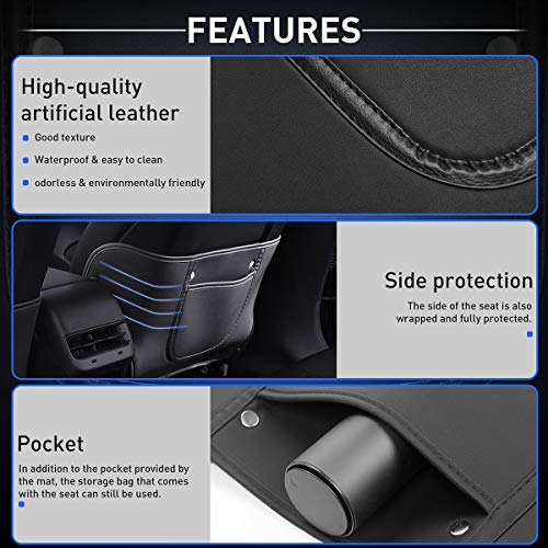 KFZMAN Kick Mat Back Seat Protector for Tesla Model 3, Model 3 Seat Back Leather Protector Cover Anti-Kick with Organizer Pockets, Pack of 2, Custom Fit