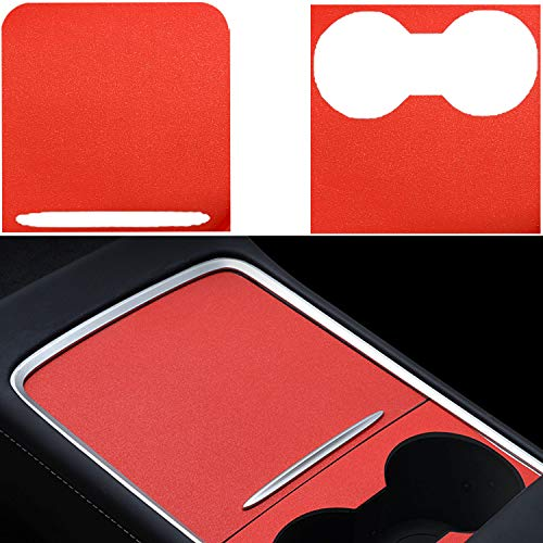 DIBMS Center Console Wrap Compatible with 2021 Tesla Model 3/Y PVC Material Center Console Cover Interior Decoration Wrap Kit for 2021 Tesla Model 3 Model Y Accessories (Frosted Red)
