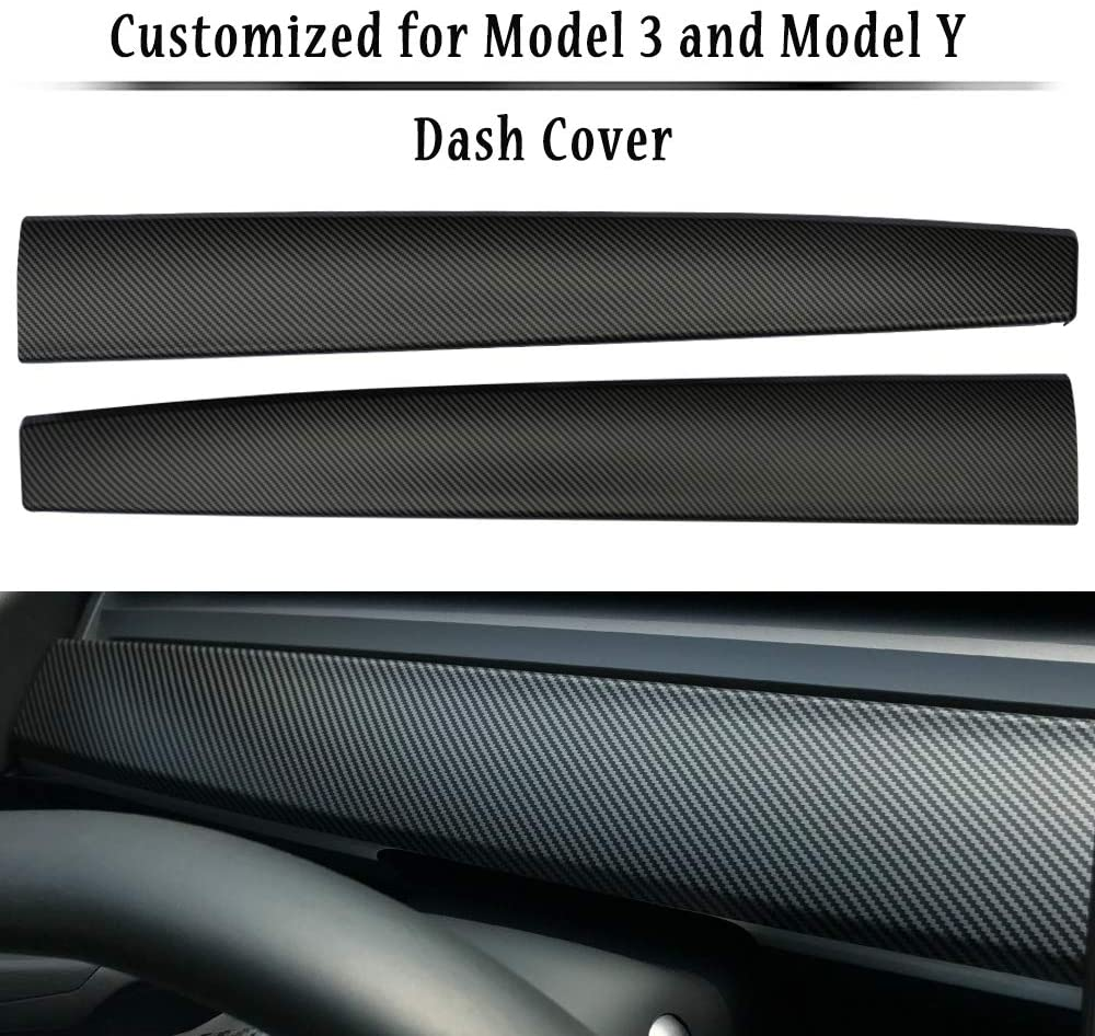 Tesla Model 3 & Y Matte Carbon Fiber Dashboard Cap