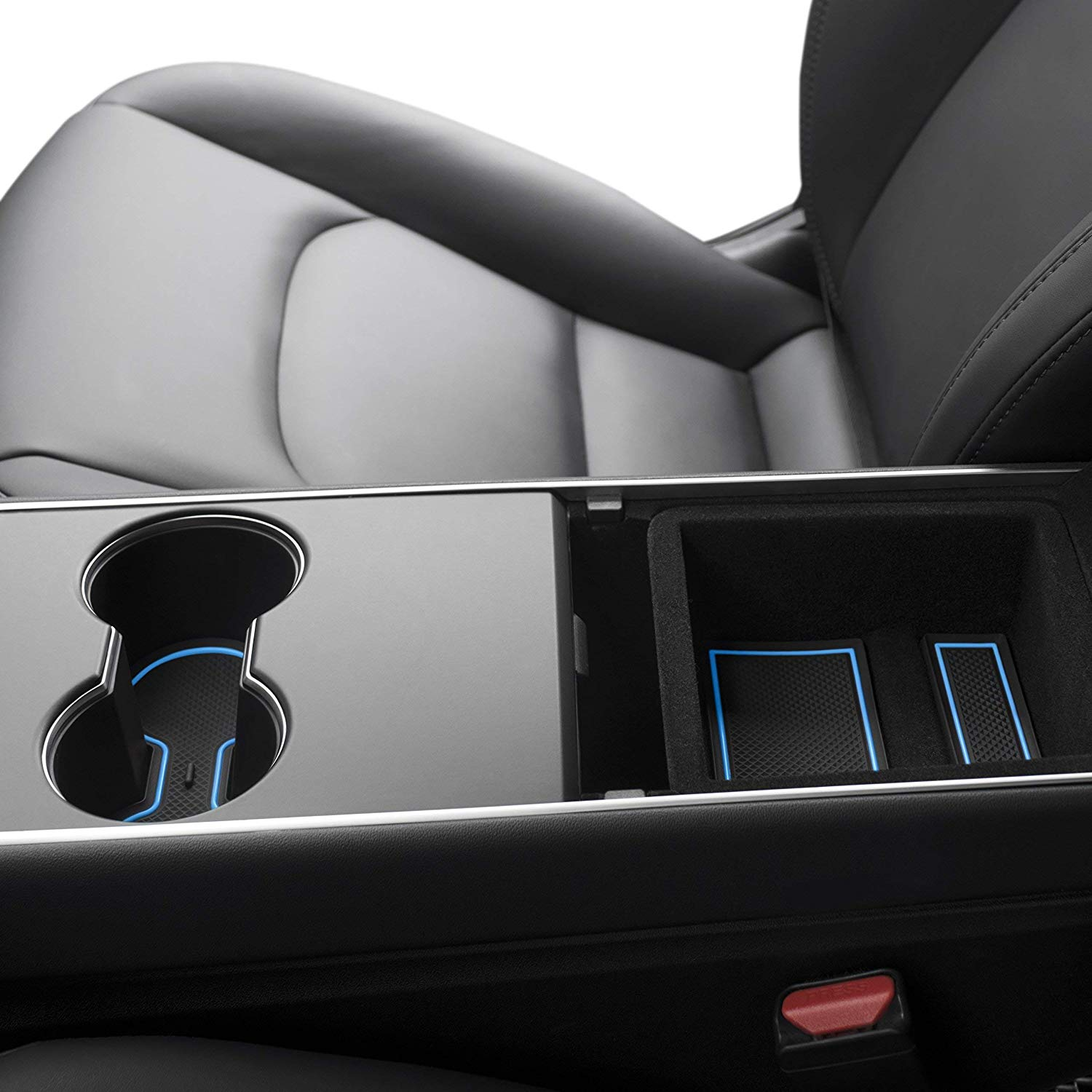 Tesla Model 3 Custom Fit Cup Holder and Center Console Compartment Liner 7 Piece Set