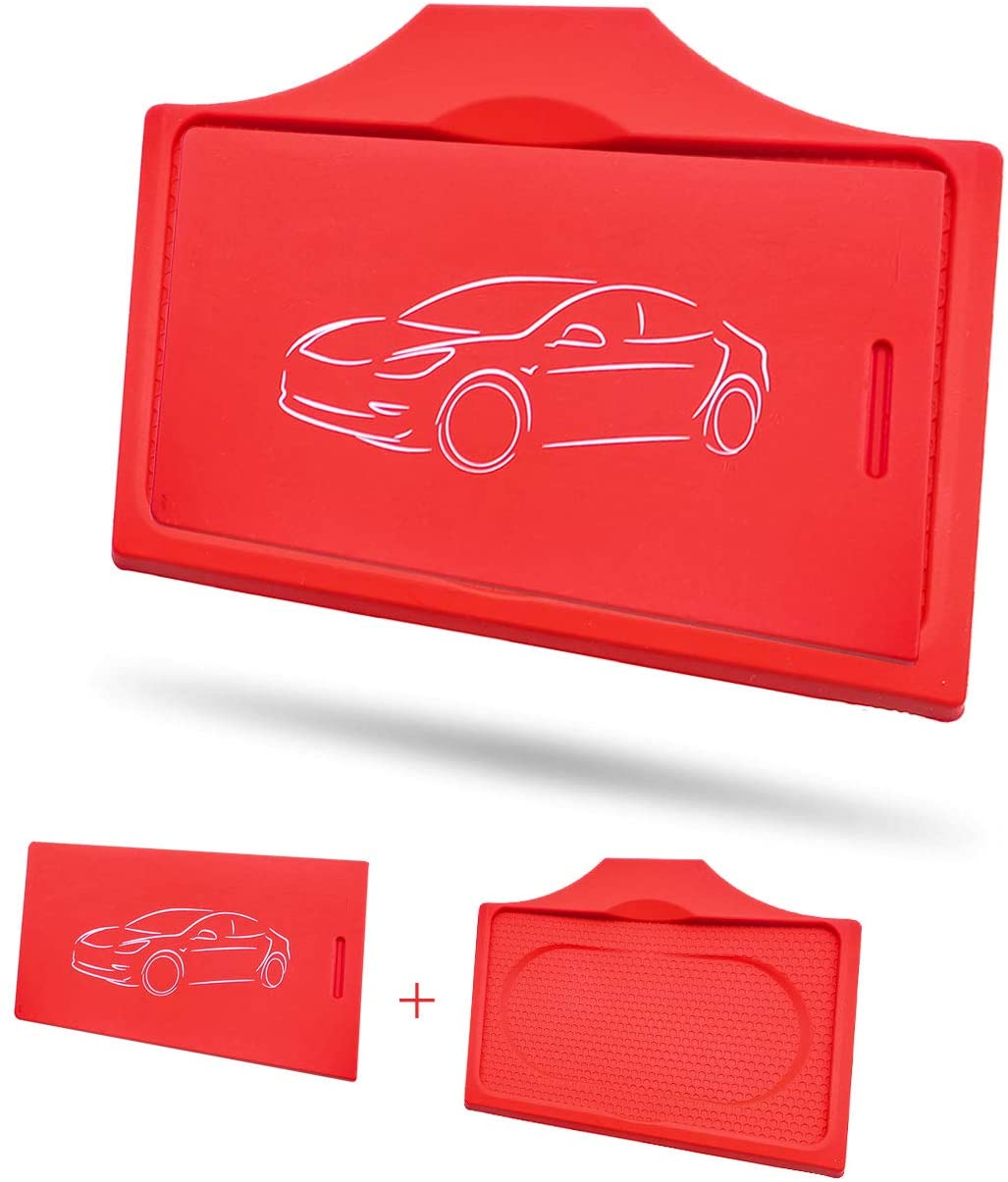 Tesla Model 3 Center Console Red Anti-Slip Key Card Holder & Silicone Key Chain (Set of 2)
