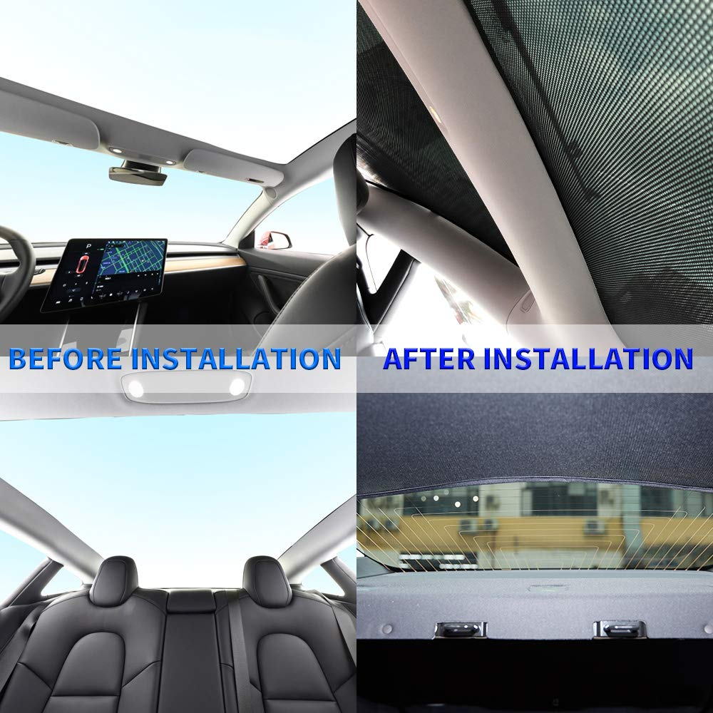 Tesla Model 3 Glass Roof and Rear Roof Window Sunshades
