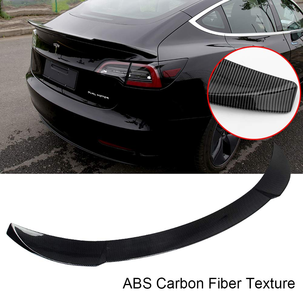 Tesla Model 3 Carbon Fiber Style Trunk Wing Performance Spoiler