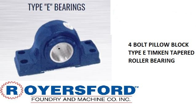 20-04-0204, ROYERSFORD TYPE E 4-Bolt Pillow Block Bearing, 2-1/4 with Timken Tapered Roller Bearings