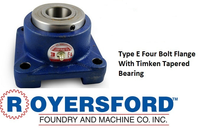 20-05-0111, ROYERSFORD TYPE E 4 Bolt Square Flange Bearing, 1-11/16 with Timken Tapered Roller Bearings